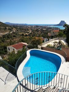 Photo for Beachstyle apartment upstairs in villa in Calpe,4p,seaview,pool,airco,wifi,sky