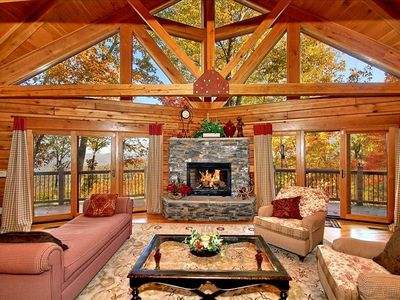 Great Room with Stone Fireplace and Wraparound Deck, Upscale Furnishings
