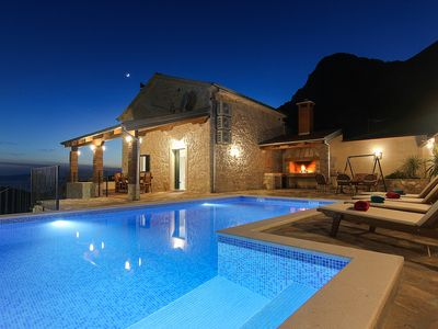 Photo for NEW! Stone house in quiet location, heated pool + sea views, ideal for familys