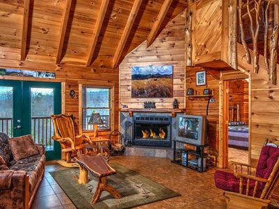 Photo for 1 of A Kind Log Cabin, Incredible 360 Views, Completely Private, HotTub, Firepit