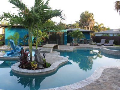 Photo for New!! H2O Bungalow LAZY river heated private pool and spa , ONE BLOCK TO BEACH,