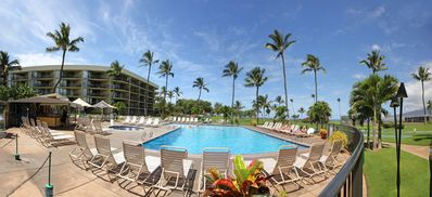 Maui Sunset's Oceanfront pool on acres of lawns.