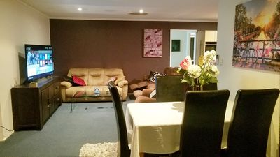 Main living room has dining, two 3 seaters and a single seater with 2 recliners