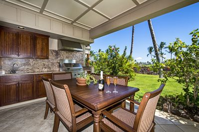 Large lanai with built in BBQ kitchenette outside private dining in paradise