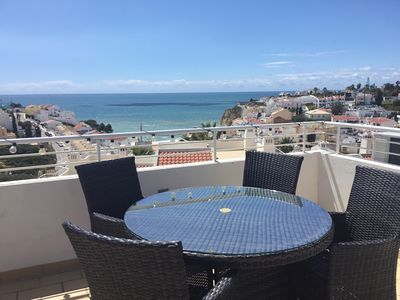 Photo for Luxury apartment with fab. sea views & private roof terrace. High speed WiFi