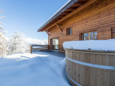 Photo for Chalet Nid Blanc wood burning hottub