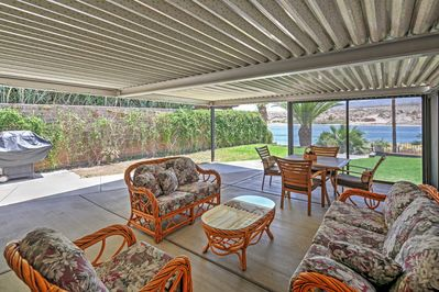 Spend downtime in the shaded patio area.