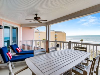 Photo for Third floor penthouse, beach and ocean views, private front porch entrance and