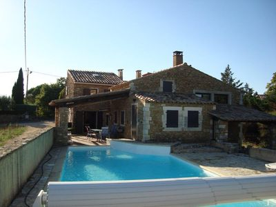 Photo for Stone house with heated pool