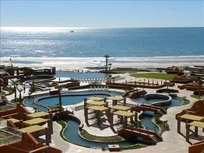 View of the courtyard and beachfront from the patio in the Rubi building.