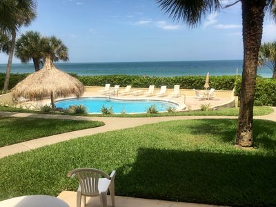 View from Living Room and Patio - Pool area with Belleair Beach in background