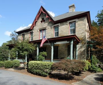 The Historic Blake House - This is the Historic Blake House, built in 1847. The Rose Room is located in the back of this building.