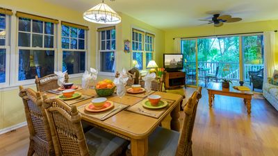 The open plan is perfect for entertaining. Dining table seats six comfortably.