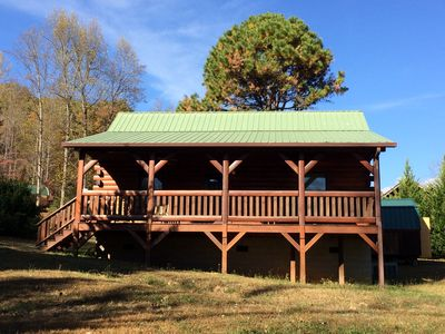 Photo for Quiet log cabin next to Cherokee and Smoky Mnt Nat'l Park