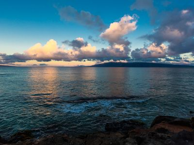Daybreak over The Enchanted Beachcomber-awake in heaven.  Taken from our Lanai!