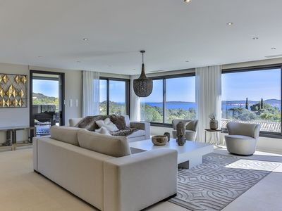 Photo for Contemporary property of 300 m2 with sea view on the Gulf of Saint-Tropez