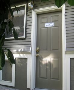 Private side entrance with finger-touch keypad lock. You'll never lose the key.