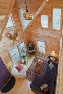 View of great room from loft balcony
