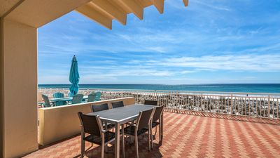 Photo for Sans Souci Gulf-front 1st floor condo! Sleeps 6. Free WiFi. Swimming Pool.