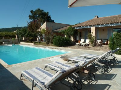 Photo for calm vineyards, Gulf of Saint Tropez, beautiful villa with private picin