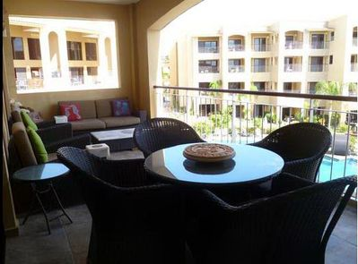 Balcony with comfortable furniture for all