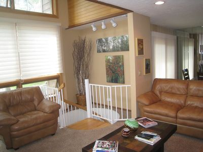 Living room with Stairway to Lower Level