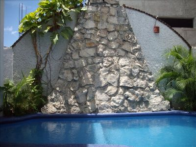View of the private pool in our courtyard which is gated