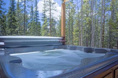 Large private hot tub off TV Room downstairs