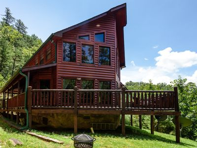 Photo for 2BR 2BTH Unique log cabin with private trails on property