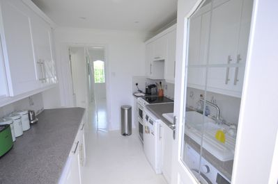 A galley kitchen with everything you need for a comfortable stay...