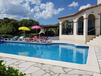 Photo for Air-conditioned villa with heated pool, guesthouse and stunning views