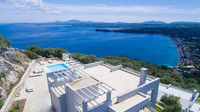 Photo for New Luxurious Villa, Private Pool, Breathtaking Sea View from its position on Pantokrator Mountain