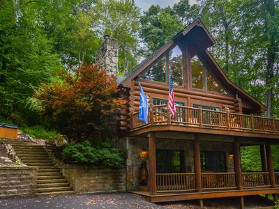 Photo for Adventures happen in this spectacular 4 Bedroom Mountain Log Home!