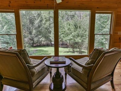Photo for Soothing backdrop overlooking the beautiful, babbling waters of Mountaintown Creek at Laurel Waters.