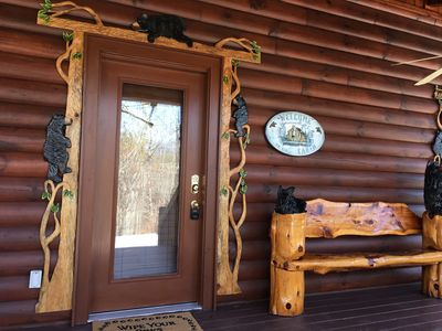 Bear decor surrounds windows and door! Vacation Time:)