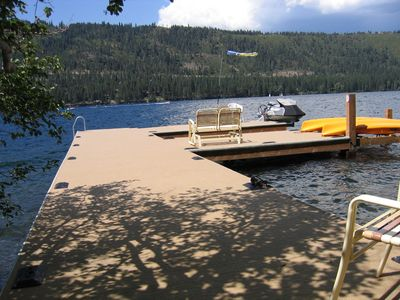 The dock and the lake from the base of the stairs! Watercraft rentals such as these are available nearby!
