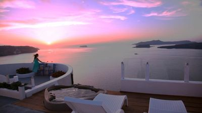 Photo for CREATE YOUR KIND OF VACATION. CALDERA SUNSET VIEW VILLA IN SANTORINI IN IDEAL LOCATION
