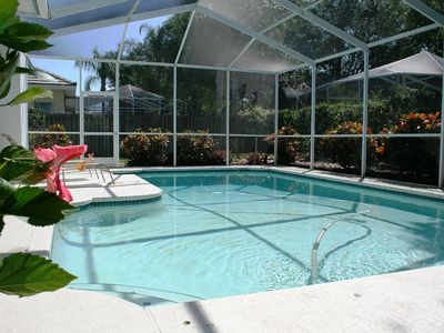 Very private back yard with screen swimming pool