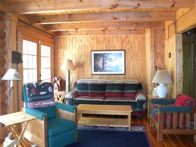 Photo for Kerr Lake Log Cabin On Calm Cove With Gentle Slope To Water, Nearby Sandy Beach