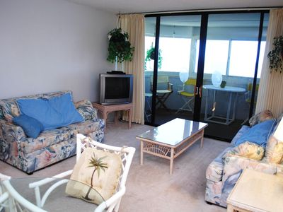 Photo for Cozy 3 Bedroom Oceanfront Condo With Outdoor Pool, WiFi, HBO Channels, and Fantastic View from Enclosed Balcony Just Steps from the Beach!
