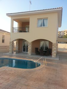 Photo for Villa with sundrenched, spacious terrace overlooking the med and Paphos town