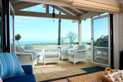 Ocean view from living room with patio doors open.