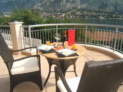 Photo for Beautiful 2 bedroom apartment with breathtaking views of the Bay of Kotor