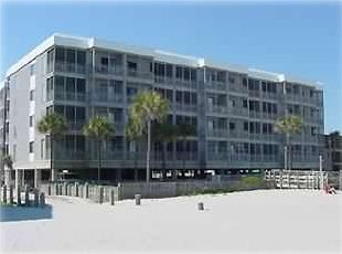 View of OceanView condos from the beach