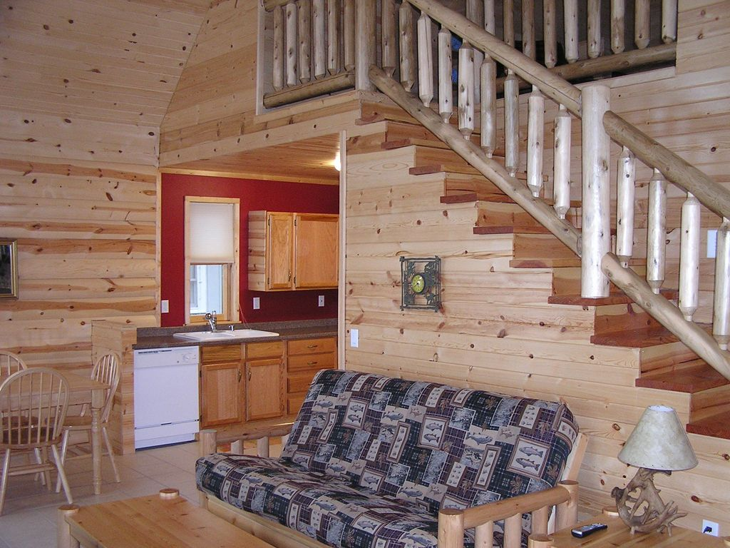 Large Stone Fireplace 3 bedroom log style cabin with large stone fireplace on otter tail