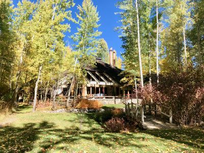 Photo for Beautiful home on the Big Wood River south of Ketchum in an aspen forest.