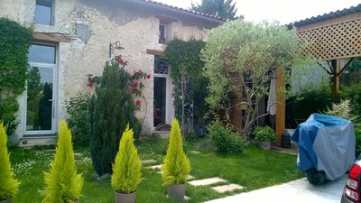 Photo for Old renovated cellar in charming stone house with charming garden of 100m2