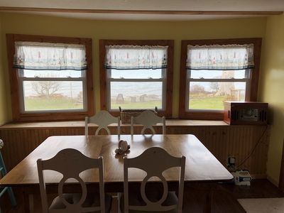 kitchen dining with a view of the lake