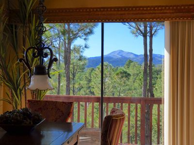 Photo for COZY cabin with SIERRA BLANCA views, 5 min to Shopping, 3/2, WIFI, Sleeps 6