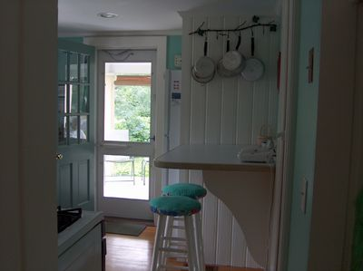 View through kitchen to porch